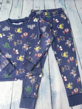 Mini Boden blue knights and castles pyjamas age 6 (suitable age 4-5)